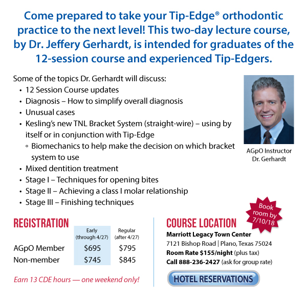 AGpO 2018 Advanced Orthodontics Course Objectives & Hotel Registration